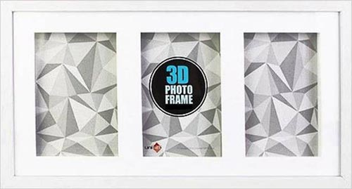 5x7-3-in-1-White-Wood-3-D-Frame-Shadow-Box-mats-suits-13x18cms-art-with-clear-glass