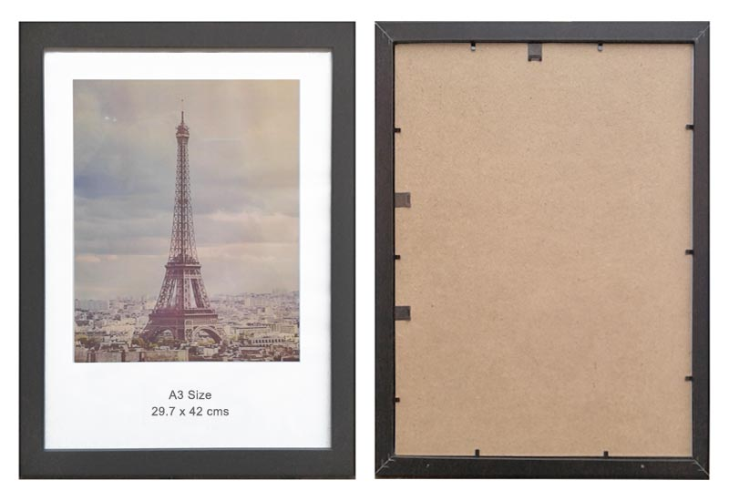 A3 Black Wood Ready-Made Picture Frame (suits 29.7x42cm paper) & Clear Glass