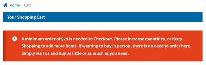 Shopping-Cart-warning-minimum-picture-frames-order-value-required
