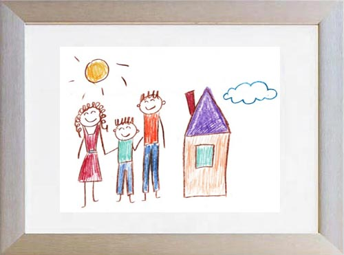 child-drawing-in-a-silver-matted-frame