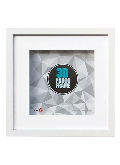 15x15-white-wood-3D-square-frame-with-10x10-opening-clear-glass-and-stand