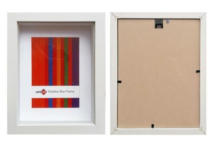 20.3×25.4cms-White-Wood-Shadow-Box-Frame-mat-fits-13x18cms-pic.-and-clear-glass-large