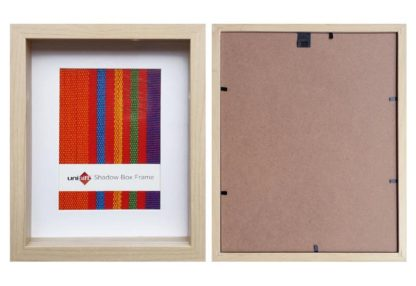 / 1 – 20.3x25.4cms Natural Wood Shadow Box Frame ( mat fits 13x18cms pic.) and clear glass-large