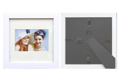 """20x20cms White Square Photo Frame (mat suits 4""""x6"""" pic.) with clear glass and stand large"""