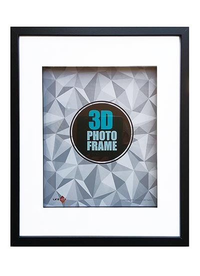 20x25cms-Black-Wood-3-D-Frame-Shadow-Box-mat-fits-13x18cms.-pict.-with-clear-glass-and-stand
