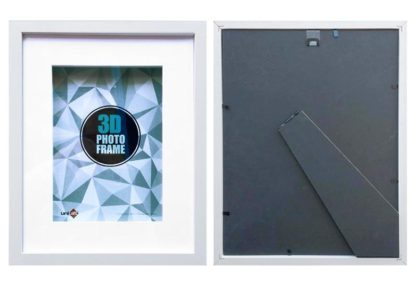 20x25cms White Wood 3-D Frame & Shadow Box frame (mat fits 15x20 cms. pict.) with clear glass and stand
