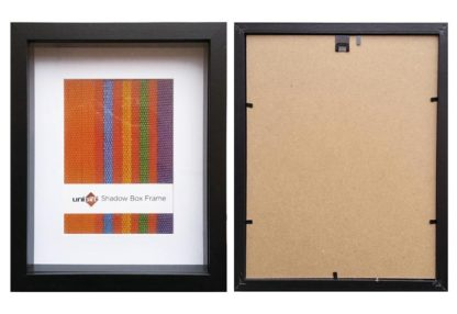 27.9x35.6cms-Black-Wood-Shadow-Box-Frame-mat-fits-20x25cms-pic.-and-clear-glass-large