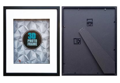 28x35cms-Black-Wood-3-D-Frame-Shadow-Box-mat-fits-20x25-cms.-pict.-with-clear-glass-and-stand-large
