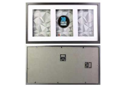 """4""""x6"""" (3-in-1) Black Wood 3-D Frame & Shadow Box (mats suits 10x15cms art) with clear glass-large"""