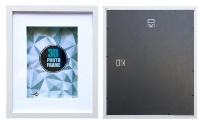 50x40cms-White-Wood-3-D-Shadow-Box-frame-mat-inside-suits-28x35cms-picture-with-Clear-Glass-large