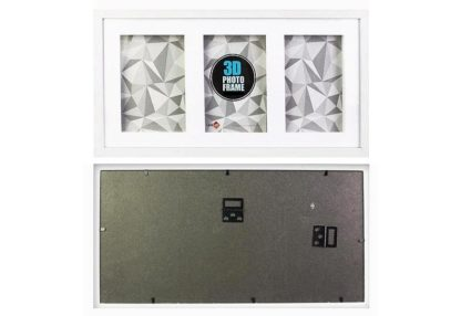 """8""""x10"""" (3-in-1) White Wood 3-D Frame & Shadow Box (mats suits 20x25cms art) with clear glass-large"""