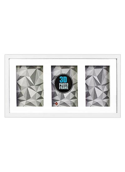 "8""x10"" (3-in-1) White Wood 3-D Frame & Shadow Box (mats suits 20x25cms art) with clear glass"