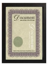 A4 black wood certificate frame with clear glass and stand