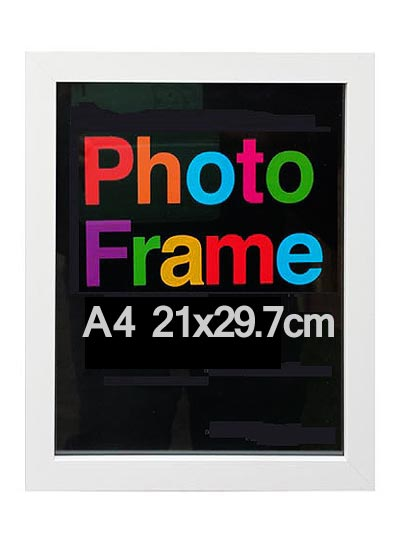 A4-white-wood-shadow-box-frame-with-clear-glass-and-stand