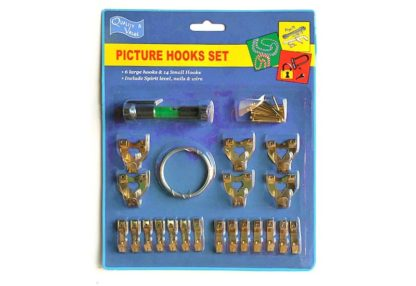 Picture Hooks and Nails Kit of 20 assorted Single and Double Nail Hooks-large