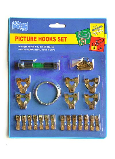 Picture Hooks and Nails Kit of 20 assorted Single and Double Nail Hooks