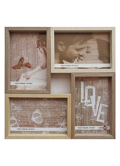 Rustic-Wood-Collage-Photo-Frame-holds-4-only-10x15cm-or-4x6-photos-with-Clear-Glass