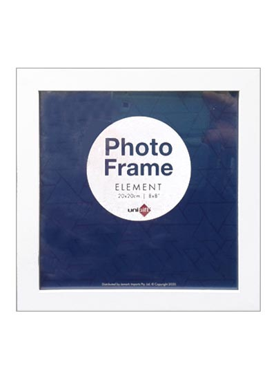 20x20cms-White-Square-Plain-Wood-Frame-with-Clear-Glass-and-Stand