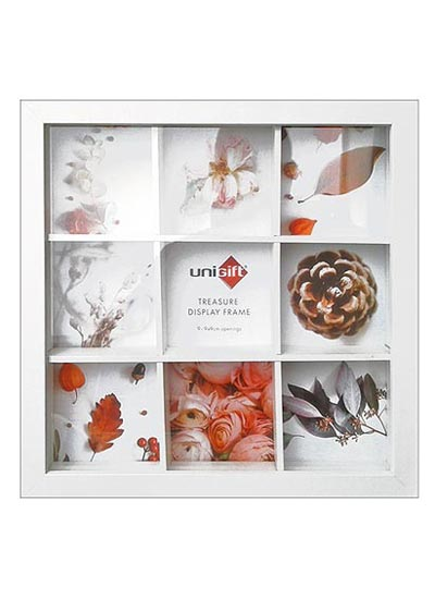 28x28cms-White-Wood-Collage-Frame-Organizer-(for-9-only-9x9cms-photos)-with-Clear-Glass